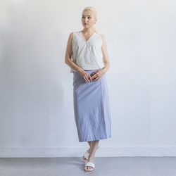 W27 cotton basic long skirt sky