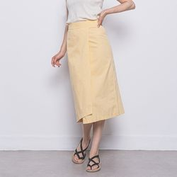 W27 linen rap long skirt yellow
