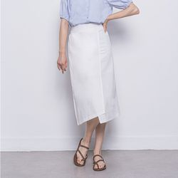 W27 linen rap long skirt white