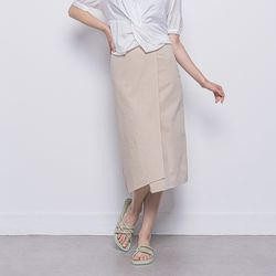W27 linen rap long skirt beige