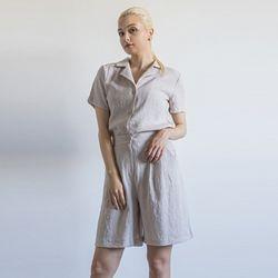 W22 linen setup half shirts beige