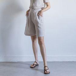 W22 linen setup short pants beige