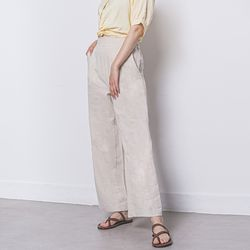 W22 linen wide pants beige