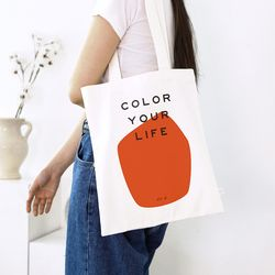 COLOR YOUR LIFE BAG ORANGE PRINT