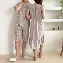 N Sweet Check Pajama Set - 커플룩