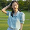 RUFFLE COLLAR CROP BLOUSE(SKY BLUE)