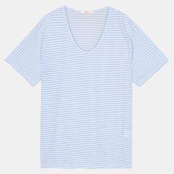 V넥 줄지 티셔츠 STRA208D1
