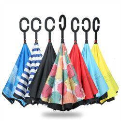 거꾸로 우산 C형 손잡이 컬러 패턴 접이식 반전우산