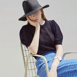 LACE PUFF HALF KNIT [NAVY]