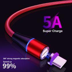 마그네틱휴대폰 고속충전케이블 데이터전송 5A C-Type