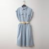 Summer Denim Fit N Flare Shirts Dress - 벨트포함