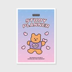 Bear heart-purplepink(study planner)