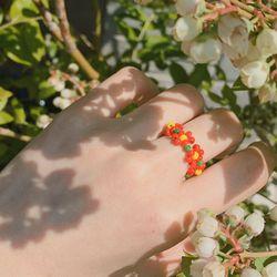 봄 비즈 반지 (flower) - beads ring