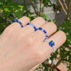 블루베리 비즈 반지 (simple line) - beads ring
