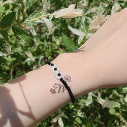 블랙 화이트 비즈 팔찌 - black white beads bracelet