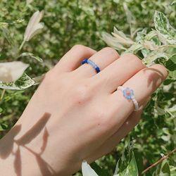 샤베트 블루 비즈 반지 - sherbet blue beads ring