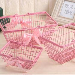핑크 철제 바스켓 바구니 M size