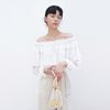 WRINKLE OFF-SHOULDER BLOUSE IVORY
