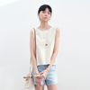 BACK OPEN SLEEVELESS BEIGE