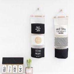 패브릭수납포켓 우편물보관 벽걸이형 패브릭 수납백 3개 1set