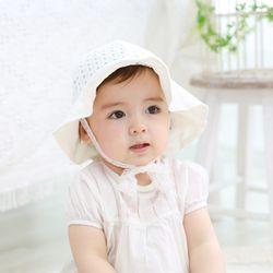순수 아일렛 펀칭 유아 모자 (0-4y) 204151