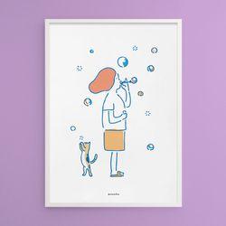 비눗방울2 M 유니크 인테리어 디자인 포스터 A3(중형)