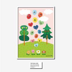 벌룬프렌즈 A4 A3 포스터 - 나무와 풍선친구들