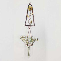 삼각꽃 1단 황동수공예 수경식물 장식 유리 꽃 화병
