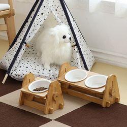 강아지 고양이 원목 밥그릇 높이조절 식기세트(도자기) 2type
