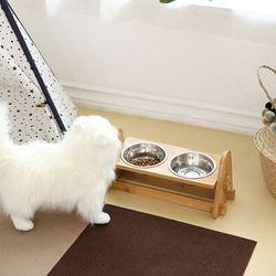 강아지 고양이 원목 밥그릇 높이조절 식기세트(스텐) 2type