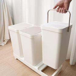 원터치 3단 분리수거함 재활용 쓰레기통 이동식 대형 휴지통