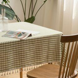 린넨 체크 레이스 식탁보 100 x 135cm