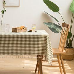 린넨 체크 레이스 식탁보 110 x 170cm