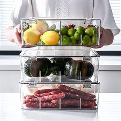 고급형 투명 칸막이 야채보관 냉장고정리함 1칸