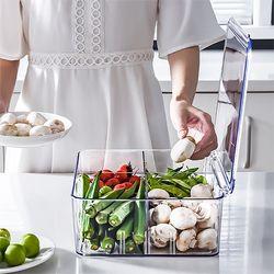 고급형 투명 칸막이 야채보관 냉장고정리함 4칸