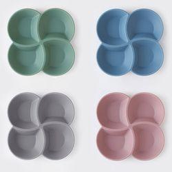 국산 실리콘 4절 나눔접시 (4colors)