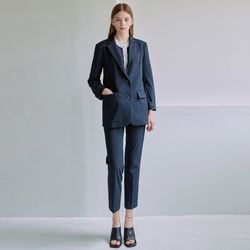 LIGHT MANNISH JACKET+SLACKS SET [NAVY]