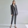 LIGHT MANNISH JACKET+SLACKS SET [CHARCOAL]