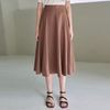 WIDE FLARE LINEN LONG SKT [BROWN]
