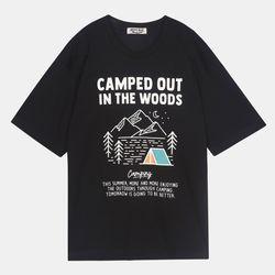 캠핑 레터링 20수 오버 반팔 티셔츠 IBRA20F01