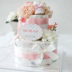 핑크 앙쥬2단 기저귀케익