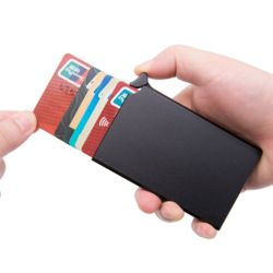 RFID차단 버튼 슬라이드 카드지갑(블랙)