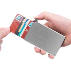RFID차단 버튼 슬라이드 카드지갑(실버)