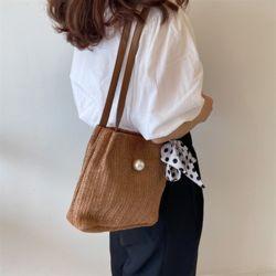 볼드 밀짚백 여성 여름 밀짚 라탄 가방 숄더백