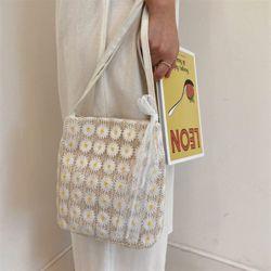잔꽃 밀짚백 여성 여름 밀짚 라탄 가방 숄더백