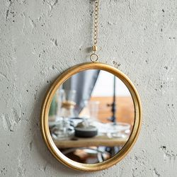 071401 빈티지 원형 금속 거울