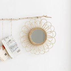 수공예 라탄인테리어 벽걸이원형거울 라탄거울