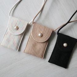 진주 단추 니트 미니 핸드폰 가방 (3color)