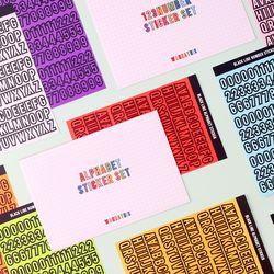 블랙라인 알파벳 숫자 스티커 12가지 컬러 세트