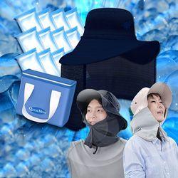 퀵맘 아쿠아썬캡 얼음모자 작업모자 2세트[베이지+네이비]
